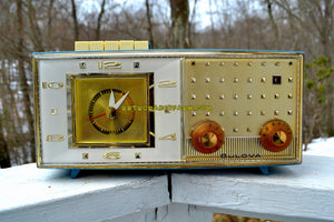 SOLD! - June 23, 2018 - DAKOTA BLUE Mid Century Retro Vintage 1959 Bulova Model 190 Tube AM Clock Radio Looks Spectacular! - [product_type} - Bulova - Retro Radio Farm