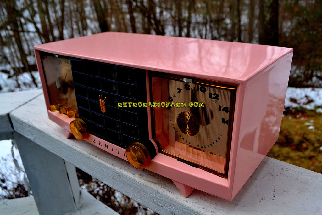 SOLD! - Mar 29, 2018 - FAIRLANE PINK and Black Mid Century Retro Jetsons Vintage 1956 Zenith Z519V AM Tube Clock Radio Works Great!