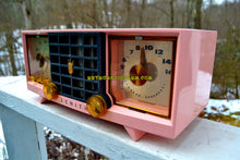 Load image into Gallery viewer, SOLD! - Mar 29, 2018 - FAIRLANE PINK and Black Mid Century Retro Jetsons Vintage 1956 Zenith Z519V AM Tube Clock Radio Works Great!