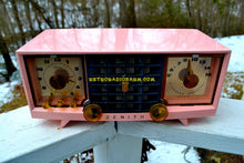 Load image into Gallery viewer, SOLD! - Mar 29, 2018 - FAIRLANE PINK and Black Mid Century Retro Jetsons Vintage 1956 Zenith Z519V AM Tube Clock Radio Works Great! - [product_type} - Zenith - Retro Radio Farm