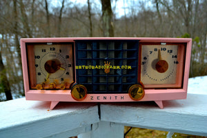 SOLD! - Mar 29, 2018 - FAIRLANE PINK and Black Mid Century Retro Jetsons Vintage 1956 Zenith Z519V AM Tube Clock Radio Works Great! - [product_type} - Zenith - Retro Radio Farm