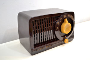 SOLD! - Feb 21, 2020 - Mocha Brown Bakelite Vintage 1952 Stewart Warner Model 9160 Vacuum Tube Radio Sweet Little Tunester! - [product_type} - Stewart Warner - Retro Radio Farm