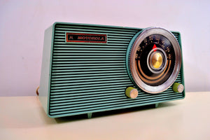 SOLD! - Jan. 8, 2020 - Powder Grey Blue Vintage 1963 Motorola Model A18B49 AM Tube Radio