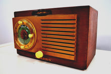 Load image into Gallery viewer, Elegant Wood Grain Art Deco 1950 General Electric Model 521 Clock Radio Totally Restored! - [product_type} - General Electric - Retro Radio Farm