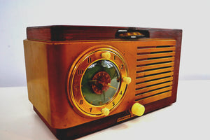 Elegant Wood Grain Art Deco 1950 General Electric Model 521 Clock Radio Totally Restored! - [product_type} - General Electric - Retro Radio Farm