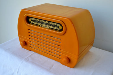 Gorgeous Golden Catalin 1945 Fada Temple Model 652 AM Radio, Pure Gold!