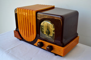 Maroon Red and Yellow Waterfall 1947 Addison Model B2E Catalin AM Vacuum Tube Radio Breathtaking! - [product_type} - Addison - Retro Radio Farm
