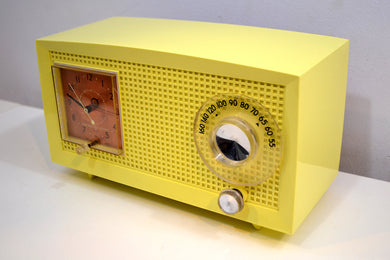 Daffodil Yellow Vintage 1959 General Electric Model C-435A Tube Radio Brighten Up Your Day! - [product_type} - General Electric - Retro Radio Farm