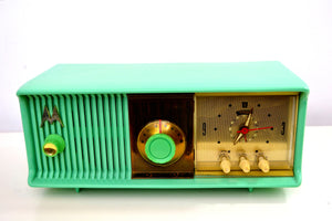 Sea Green 1957 Motorola Model 56CC Tube AM Clock Radio Excellent Condition Sounds Great! - [product_type} - Motorola - Retro Radio Farm
