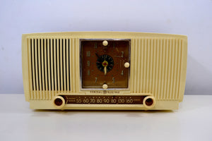 Ivory Vanilla 1953 General Electric Model 547 Retro AM Clock Radio Works Great! - [product_type} - General Electric - Retro Radio Farm