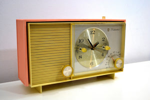 Peaches and Cream 1961 Silvertone Model 2038 AM Vacuum Tube Clock Radio Sounds Fantastic! - [product_type} - Silvertone - Retro Radio Farm