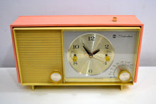 Load image into Gallery viewer, Peaches and Cream 1961 Silvertone Model 2038 AM Vacuum Tube Clock Radio Sounds Fantastic! - [product_type} - Silvertone - Retro Radio Farm