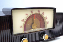 Load image into Gallery viewer, SOLD! - Mar 4, 2020 - Mahogany Swirl 1955 General Electric Model 427 Vacuum Tube AM Radio Lighted Beam Tuning! - [product_type} - General Electric - Retro Radio Farm
