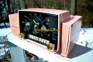 SOLD! - Mar 5, 2018 - ROSE PINK Mid Century Jetsons 1959 General Electric Model 915 Tube AM Clock Radio Near Mint! - [product_type} - General Electric - Retro Radio Farm
