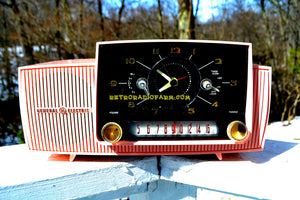 SOLD! - Mar 5, 2018 - ROSE PINK Mid Century Jetsons 1959 General Electric Model 915 Tube AM Clock Radio Near Mint!
