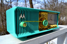 Load image into Gallery viewer, SOLD! - May 17, 2018 - VIVID Turquoise Retro Jetsons 1957 Motorola 57CC Tube AM Clock Radio Excellent!