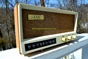 SOLD! - Oct 25, 2018 - Toffee Tan Mid Century Vintage 1959 AMC Model 2585 Tube Radio Almost Mint and Very Sweet! - [product_type} - AMC - Retro Radio Farm