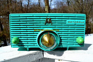 SOLD! - Aug 28, 2018 - Turquoise Mid Century Retro Jetsons 1957 Motorola 56H Turbine Tube AM Radio Works And Looks Amazing! - [product_type} - Motorola - Retro Radio Farm