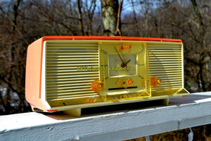 SOLD! - Sept 1, 2018 - Bonneville Pink 1958 Silvertone Model 9029 AM Clock Radio Dual Speaker Rare Near Mint! - [product_type} - Silvertone - Retro Radio Farm