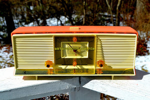 SOLD! - Sept 1, 2018 - Bonneville Pink 1958 Silvertone Model 9029 AM Clock Radio Dual Speaker Rare Near Mint!