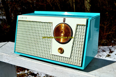 Bel-Air Blue And White 1955 Zenith Model F510 AM Tube Retro Radio - [product_type} - Zenith - Retro Radio Farm