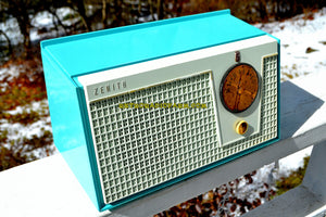 SOLD! - Nov 21, 2018 - Bel-Air Blue And White 1955 Zenith Model F510 AM Tube Retro Radio - [product_type} - Zenith - Retro Radio Farm