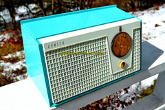 BELAIR BLUE AND WHITE 1955 Zenith Model F510 AM Tube Radio Excellent Condition!