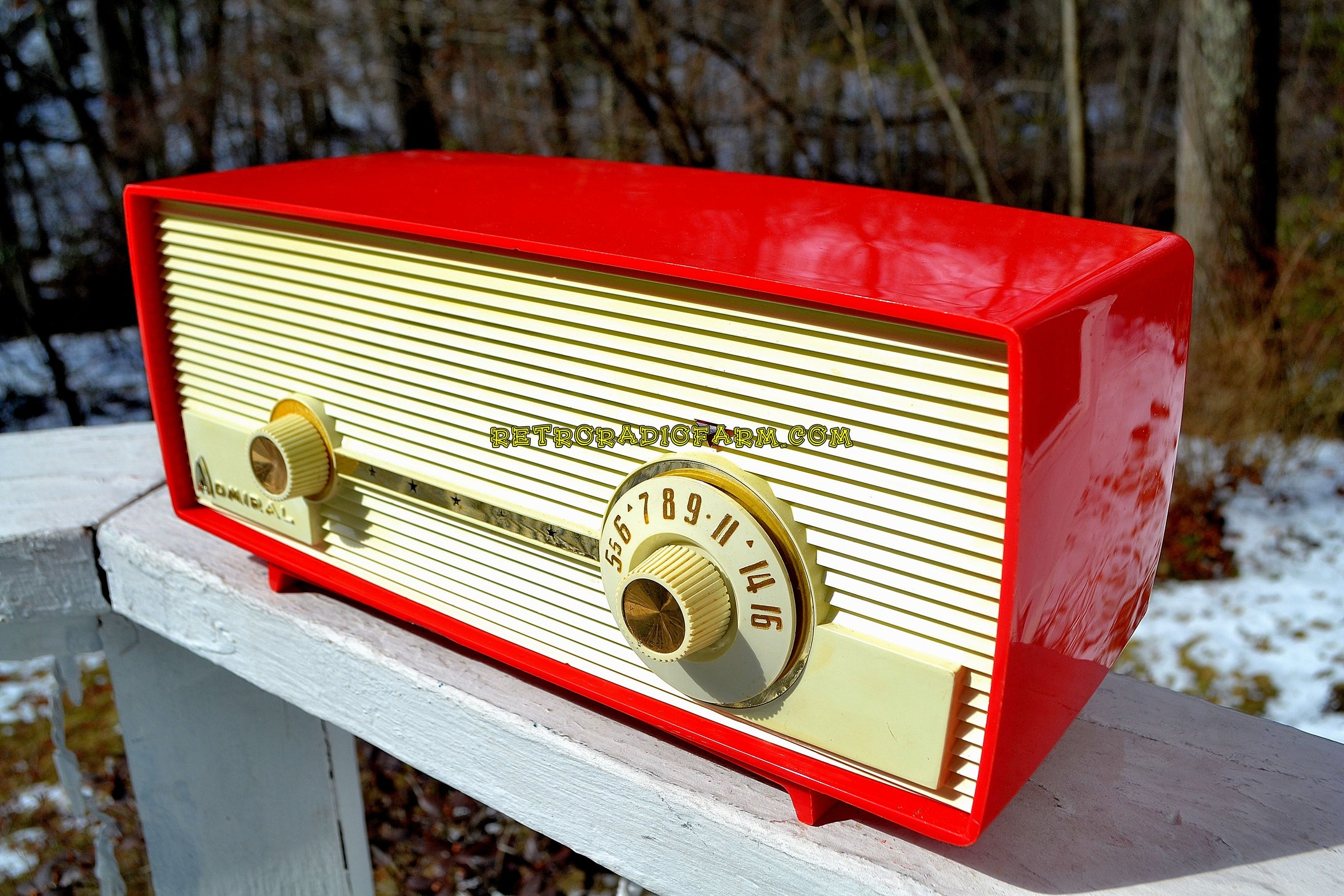SOLD! - July 21, 2018 - VERY BERRY RED 1959 Admiral 275 Tube AM Clock Radio Awesome Design Sounds Great! Rare Color! - [product_type} - Admiral - Retro Radio Farm