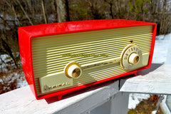 VERY BERRY RED 1959 Admiral 275 Tube AM Clock Radio Awesome Design Sounds Great! Rare Color!