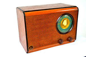SOLD! - Mar 5, 2020 - Vintage Wood Pinhole Design Front 1946 Emerson Model 503 Vacuum Tube AM Radio Works Great! - [product_type} - Emerson - Retro Radio Farm