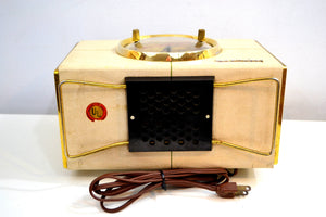 1955 Crosley Model JC-6-WE Vacuum Tube AM Radio in White Genuine Faux Leather Naugahyde Covering! - [product_type} - Crosley - Retro Radio Farm