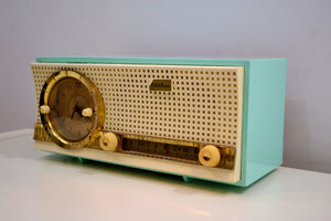 Skymist Blue Turquoise 1959 Truetone D2801 Tube AM Clock Radio Dashboard Looking Front! - [product_type} - Truetone - Retro Radio Farm