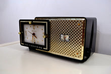 Load image into Gallery viewer, SOLD! - Mar 8, 2019 - Luxor Black 1957 Bulova Model 120 Tube AM Clock Radio Excellent Condition!