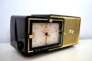 SOLD! - Mar 8, 2019 - Luxor Black 1957 Bulova Model 120 Tube AM Clock Radio Excellent Condition! - [product_type} - Bulova - Retro Radio Farm