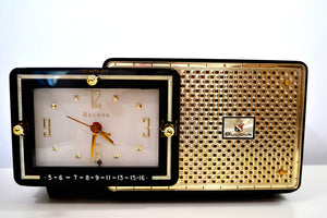 SOLD! - Mar 8, 2019 - Luxor Black 1957 Bulova Model 120 Tube AM Clock Radio Excellent Condition!