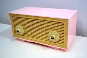 Vintage Rose Pink and White 1955 Admiral 5C4 AM Clock Radio Works Great! - [product_type} - Admiral - Retro Radio Farm