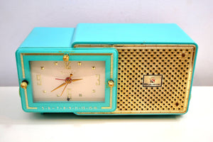 Faberge Turquoise and Gold 1957 Bulova Model 100 AM Clock Radio Simply Fabulous! - [product_type} - Bulova - Retro Radio Farm