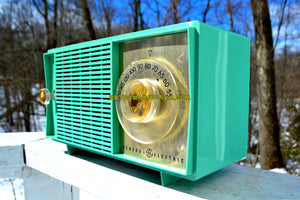 SOLD! - Mar 14, 2018 - BLUETOOTH MP3 READY SEA GREEN Mid Century Vintage 1959 General Electric Model T-129C Tube Radio - [product_type} - General Electric - Retro Radio Farm