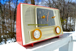 SOLD! - Dec 1, 2018 - Chinook Pink 1957 RCA Victor Model 3RD49 AM Tube Clock Radio - [product_type} - RCA Victor - Retro Radio Farm