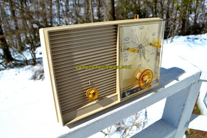 SOLD! - June 29, 2018 - SANDALWOOD Beige and White 1959 Philco Model K782-124 AM Tube Clock Radio Totally Restored!