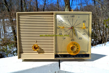 Load image into Gallery viewer, SOLD! - June 29, 2018 - SANDALWOOD Beige and White 1959 Philco Model K782-124 AM Tube Clock Radio Totally Restored!