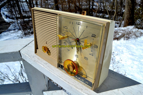 SANDALWOOD Beige and White 1959 Philco Model K782-124 AM Tube Clock Radio Totally Restored!