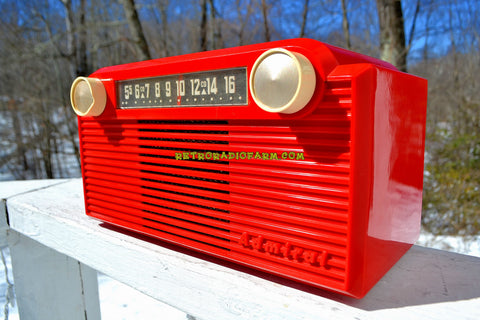 VERMILION Red 1952 Admiral 5G35N AM Tube Radio Stunning Rare and Totally Restored!