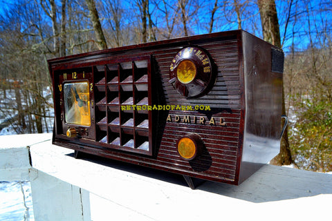 BLUETOOTH MP3 Ready - Brown Marbled 1955 Admiral Model 251 AM Tube Radio Totally Restored and Sounds Great!