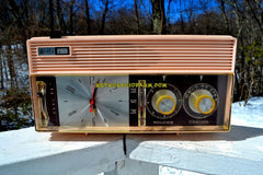 ROSATA PINK and Brown Mid Century Retro Vintage 1964 Arvin Model 52R43 AM Tube Clock Radio Rare!