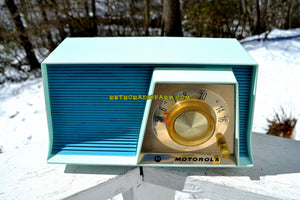 SOLD! - May 6, 2018 - TUXEDO BLUE Mid Century Retro 1962 Motorola A17B3 Tube AM Radio Cool Model Rare Color! Near Mint! - [product_type} - Motorola - Retro Radio Farm