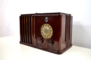 SOLD! - July 6, 2019 - Gothic Style 1938 Wards Airline Model 62-476 AM Bakelite Tube Radio Totally Restored! - [product_type} - Airline - Retro Radio Farm