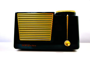 "SOLD! - June 1, 2019 - The ""Wilshire"" 1955 RCA Victor 6-X-8 Tube AM Clock Radio Forest Green Mint Upgraded With Amazon Echo Dot! - [product_type} - RCA Victor - Retro Radio Farm"