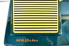 "Load image into Gallery viewer, SOLD! - June 1, 2019 - The ""Wilshire"" 1955 RCA Victor 6-X-8 Tube AM Clock Radio Forest Green Mint Upgraded With Amazon Echo Dot!"