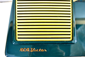"SOLD! - June 1, 2019 - The ""Wilshire"" 1955 RCA Victor 6-X-8 Tube AM Clock Radio Forest Green Mint Upgraded With Amazon Echo Dot!"